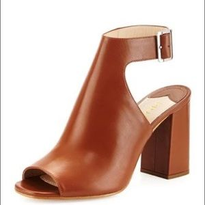 Prada Tan Leather Block Heel Sandal 37
